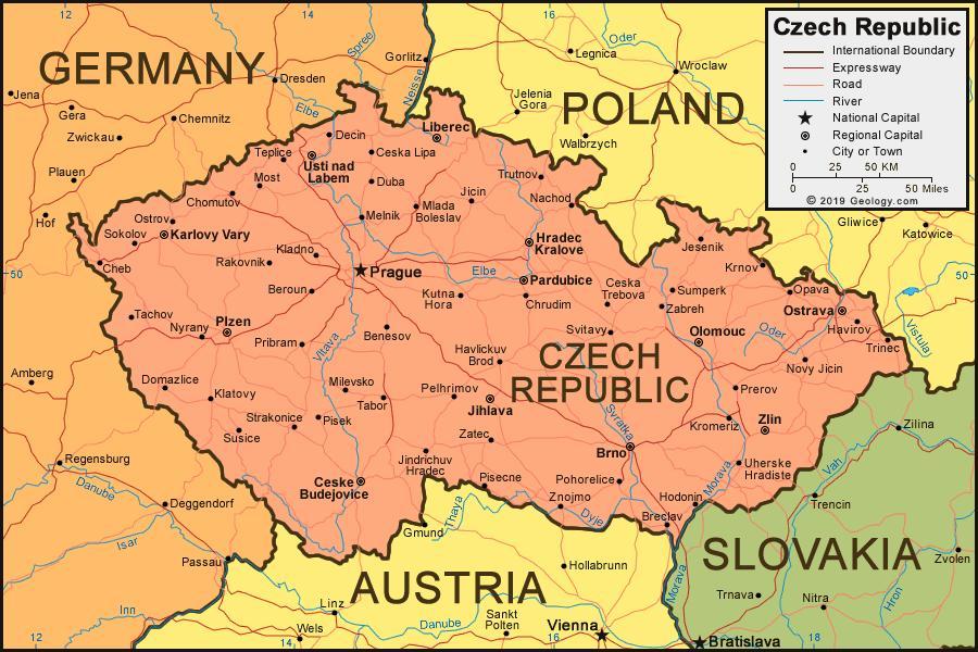 Karta Lander I Europa.Tjeckiska Republiken Karta Och Omgivande Lander Karta Over